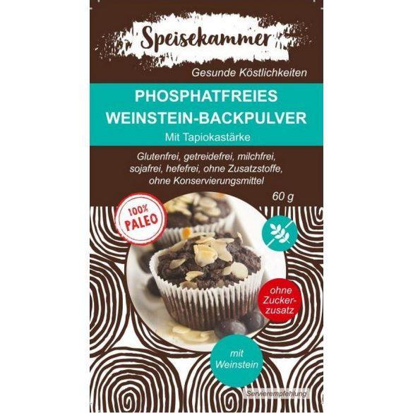 Speisekammer Phosphatfreies Weinstein-Backpulver 60 G (Paleo, glutenfrei, maisfrei, sojafrei, kohlenhydratreduziert)